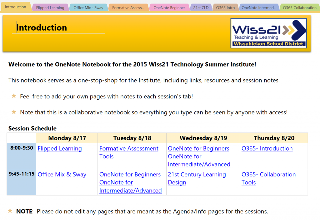Front page of the Wiss21 Institute OneNote Notebook